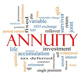 Annuity Roller over word cloud